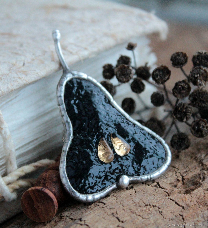 Брошь черная груша. Стекло ручной работы, Брошь-булавка, Санкт-Петербург,  Фото №1