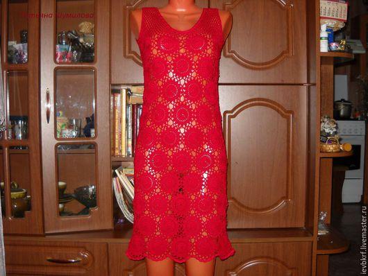 Платья ручной работы. Ярмарка Мастеров - ручная работа. Купить летнее платье из хлопка. Handmade. Ярко-красный, Вязание крючком
