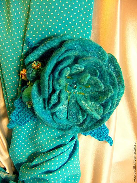 Галстуки, бабочки ручной работы. Ярмарка Мастеров - ручная работа. Купить Валяная брошь фантазийный цветок Бирюзовый стих. Handmade.