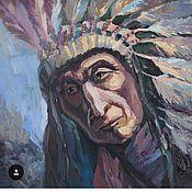 Картины и панно ручной работы. Ярмарка Мастеров - ручная работа Индеец, темпера масло ватман, 50x60. Handmade.