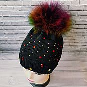 Работы для детей, ручной работы. Ярмарка Мастеров - ручная работа Мериносовая шапочка с разноцветным помпоном....весна.... Handmade.
