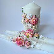 Свадебный салон ручной работы. Ярмарка Мастеров - ручная работа Свечи семейный очаг  персиково-розовые. Handmade.