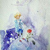 """Открытки ручной работы. Ярмарка Мастеров - ручная работа Картина акварелью. Открытка """"Маленький принц"""". Handmade."""