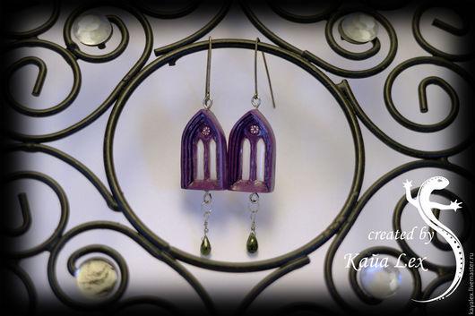 Серьги ручной работы. Ярмарка Мастеров - ручная работа. Купить Urbi Et Orbi - Gothic. Handmade. Пурпурный, готический, турмалин