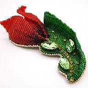Украшения ручной работы. Ярмарка Мастеров - ручная работа Брошь из бисера Красный тюльпан. Handmade.