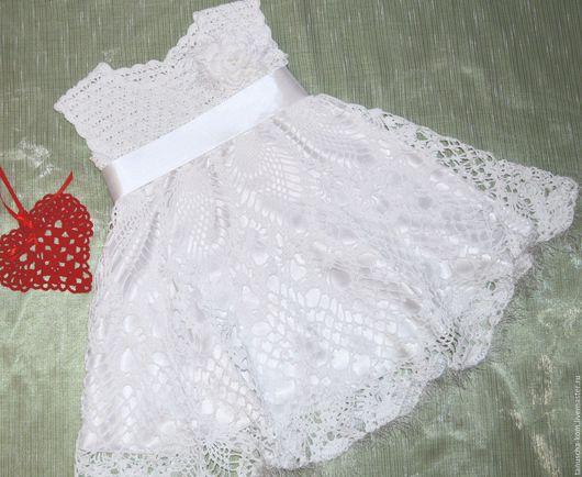 Одежда для девочек, ручной работы. Ярмарка Мастеров - ручная работа. Купить Белое платье  для девочки крючком. Handmade. Белый