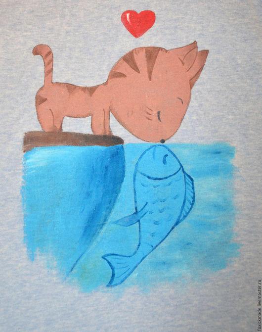 """Футболки, майки ручной работы. Ярмарка Мастеров - ручная работа. Купить майка с росписью """"Рыба моей мечты"""". Handmade. Голубой"""