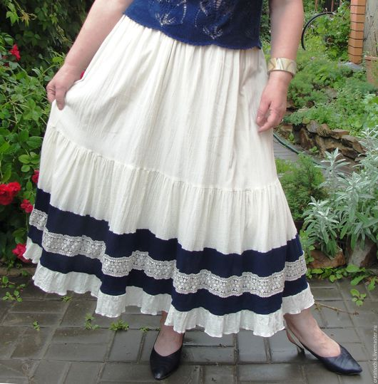 Юбки ручной работы. Ярмарка Мастеров - ручная работа. Купить Летняя юбка сливочного цвета. Handmade. Летняя юбка бохо
