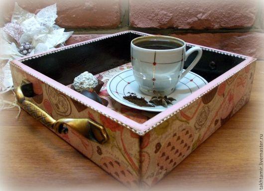 """Кухня ручной работы. Ярмарка Мастеров - ручная работа. Купить Поднос """"Доброе утро"""". Handmade. Подарок, кофейный, поднос для завтрака"""