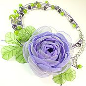Работы для детей, handmade. Livemaster - original item Princess Lilac Of The Meadow. Necklace and brooch - flower for girls. Handmade.