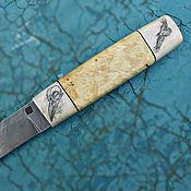 """Сувениры и подарки ручной работы. Ярмарка Мастеров - ручная работа Нож """"Ворон-2"""" (дамаск, скримшоу) подарок мужчине охотнику рыбаку. Handmade."""