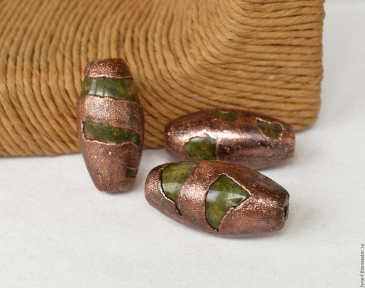 Для украшений ручной работы. Ярмарка Мастеров - ручная работа. Купить Унакит в меди бусины. Handmade. Ale, материалы для бижутерии