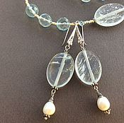 Украшения handmade. Livemaster - original item earrings aqua allegory ii from aqua quartz and pearls. Handmade.