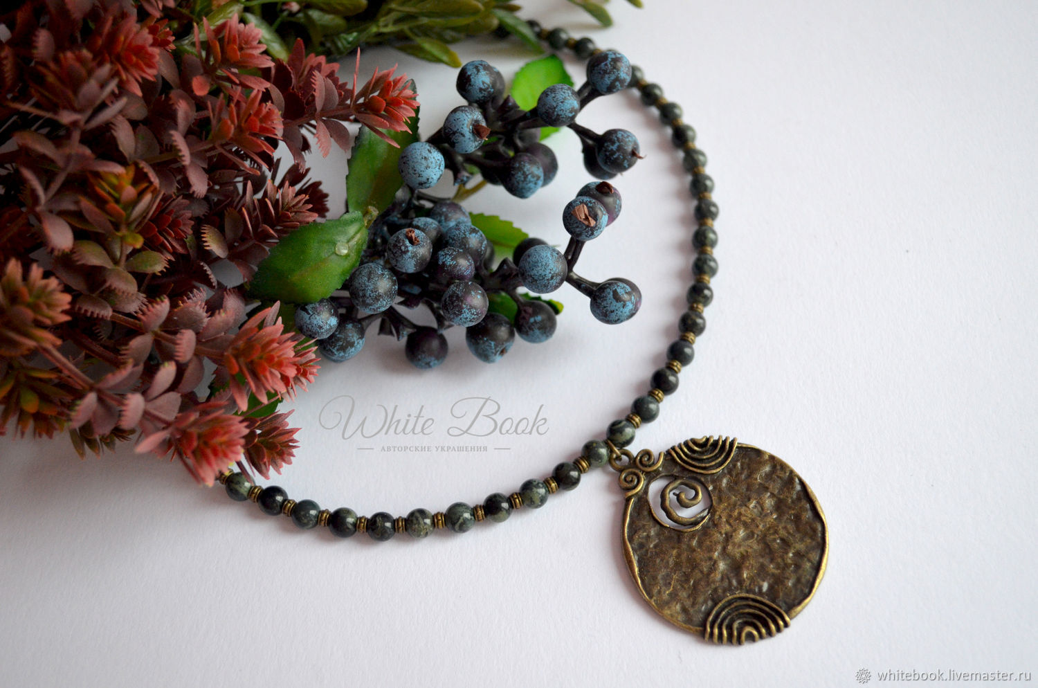 Choker necklace with natural kambaba Jasper, antique bronze, Chokers, Moscow,  Фото №1