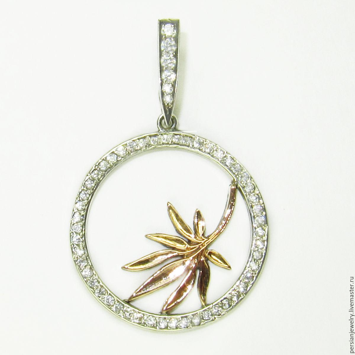 Silver pendant with gold ' leaf Bamboo', Pendants, Sevastopol,  Фото №1