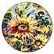 Керамическая тарелка `Подсолнухи`. Керамика ручной работы. Ярмарка мастеров.