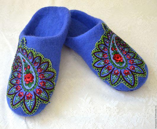 Обувь ручной работы. Ярмарка Мастеров - ручная работа. Купить тапочки-шлепки из шерсти. Handmade. Тапочки, тапочки из шерсти