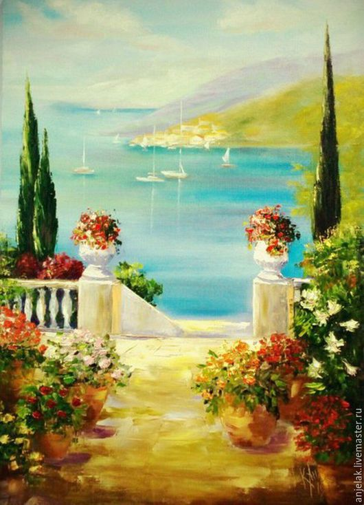 """Пейзаж ручной работы. Ярмарка Мастеров - ручная работа. Купить """"Где-то в Италии"""". Handmade. Бирюзовый, море, корабли, цветы"""