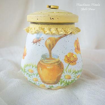 """Посуда ручной работы. Ярмарка Мастеров - ручная работа Баночка """"Медовая"""". Handmade."""