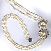 Украшения handmade. Livemaster - original item Bracelet and necklace in three rows pearl clasp. Handmade.