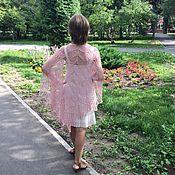 """Аксессуары ручной работы. Ярмарка Мастеров - ручная работа Шелковая шаль """"Розовый жемчуг"""" большая с брошью. Handmade."""