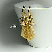 Украшения handmade. Livemaster - original item Earrings with coral and moonstone in gold. Handmade.