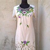 Одежда ручной работы. Ярмарка Мастеров - ручная работа платье льняное с вышивкой ришелье. Handmade.