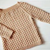 Одежда ручной работы. Ярмарка Мастеров - ручная работа Вязаный женский свитер песочного цвета. Handmade.