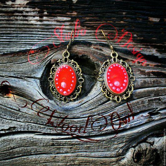 Серьги ручной работы. Ярмарка Мастеров - ручная работа. Купить Элегантные винтажные серьги в ярко-красном цвете. Handmade.
