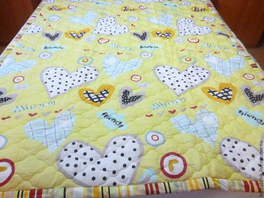 Текстиль, ковры ручной работы. Ярмарка Мастеров - ручная работа. Купить Детское стеганное покрывало-одеяло. Handmade. Желтый, мишки