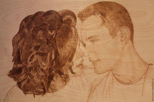 """Люди, ручной работы. Ярмарка Мастеров - ручная работа. Купить Портрет по фото (выжигание по дереву) """"Пара"""". Handmade. Бежевый"""