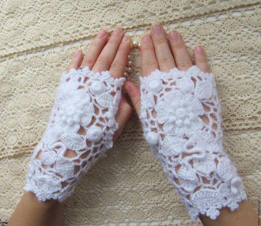 """Варежки, митенки, перчатки ручной работы. Ярмарка Мастеров - ручная работа. Купить Митенки """"Белое кружево"""" - ирландское кружево. Handmade."""