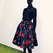 Одежда handmade. Livemaster - original item Chiffon blouse with bow and skirt with roses. in explanation D&G. Handmade.