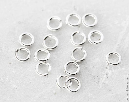 Для украшений ручной работы. Ярмарка Мастеров - ручная работа. Купить 2085_1_Коннекторы серебро 925 пробы 4мм x 0.8мм, Коннекторы кольца. Handmade.