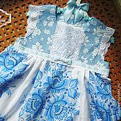 Работы для детей, ручной работы. Ярмарка Мастеров - ручная работа платье для девочки Гжель. Handmade.