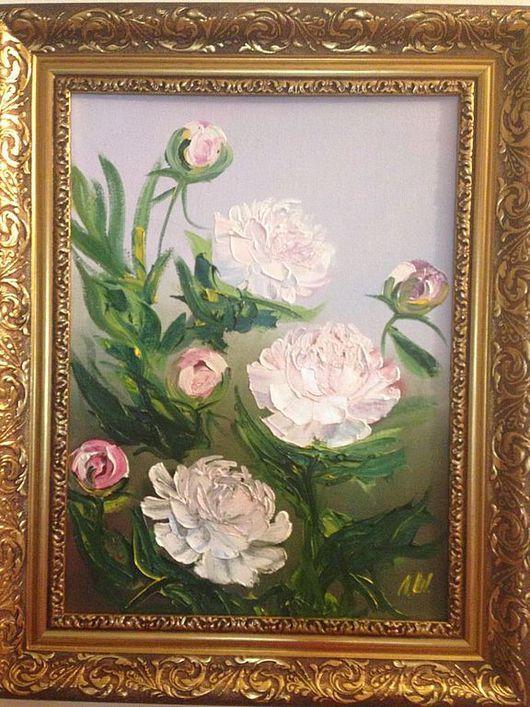 Картины цветов ручной работы. Ярмарка Мастеров - ручная работа. Купить Пионы в саду. Handmade. Пионы, любовь, цветы в подарок