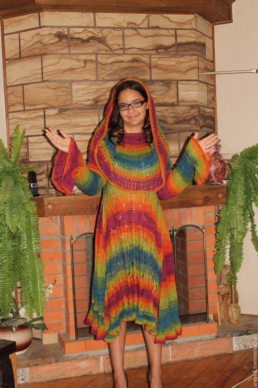 Платья ручной работы. Ярмарка Мастеров - ручная работа. Купить Яркое платье-туника в стиле бохо.. Handmade. Комбинированный