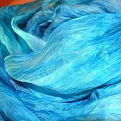Аксессуары ручной работы. Ярмарка Мастеров - ручная работа большой шелковый шарф бирюзово голубой широкий палантин. Handmade.
