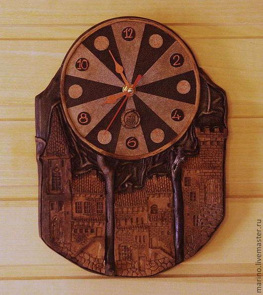 Часы для дома ручной работы. Ярмарка Мастеров - ручная работа. Купить часы-город. Handmade. Часы, кожа, кожа, тонировка