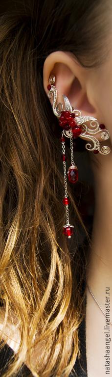 """Каффы ручной работы. Ярмарка Мастеров - ручная работа. Купить Кафф """"Red Angel"""" (украшения красный цвет, красные серьги клипсы). Handmade."""