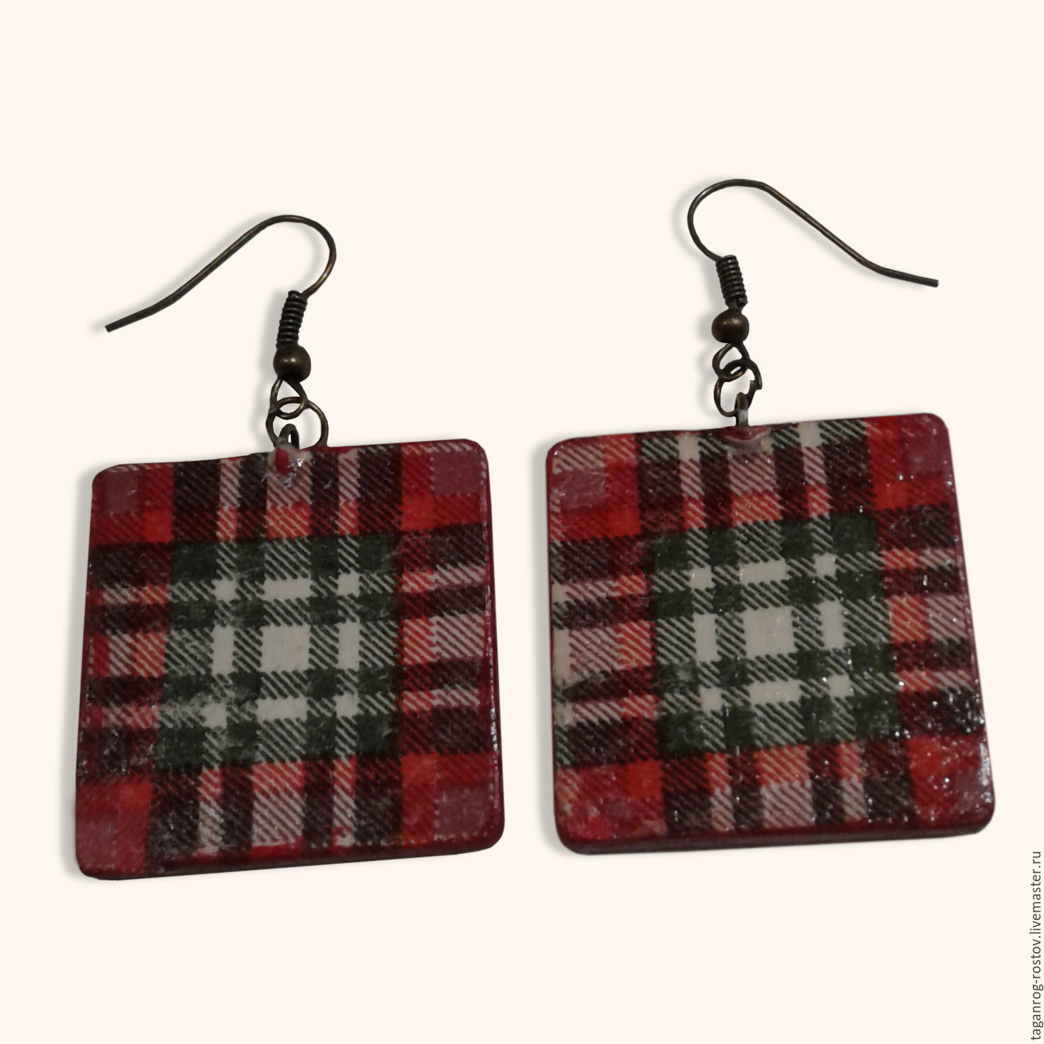 Fashion jewelry Earrings square plaid, Earrings, Taganrog,  Фото №1