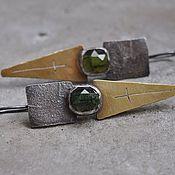 Украшения handmade. Livemaster - original item Earrings with green tourmaline, reticulation, silver and brass. Handmade.
