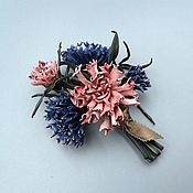 Украшения handmade. Livemaster - original item Brooch from skin the SUMMER BOUQUET, cornflowers from skin, ornament f. Handmade.