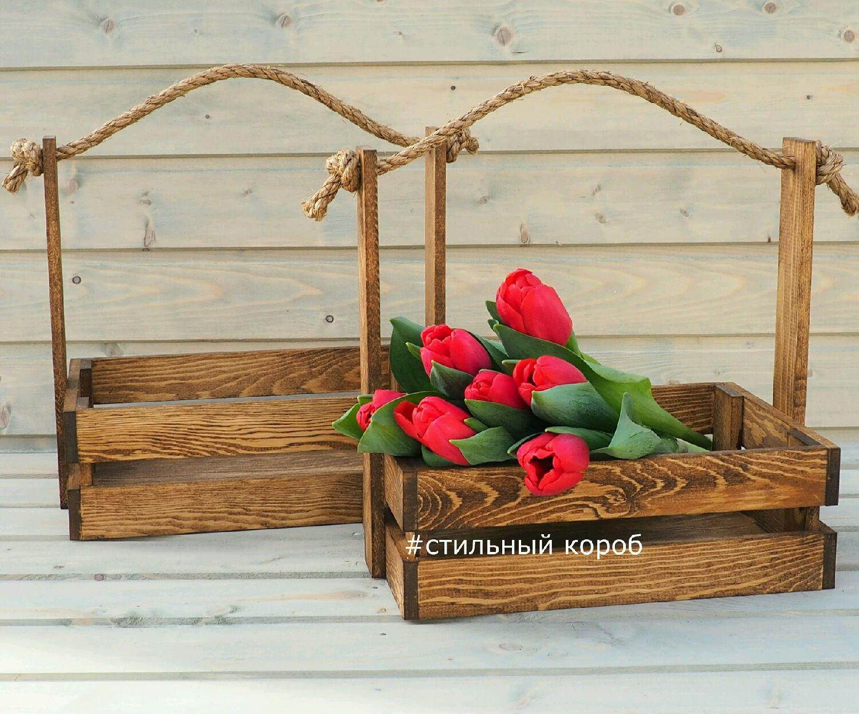 Деревянный ящик для цветов