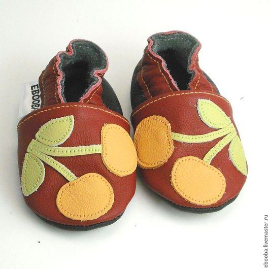 Кожаные тапочки чешки пинетки вишня жёлтая на бордовом ebooba
