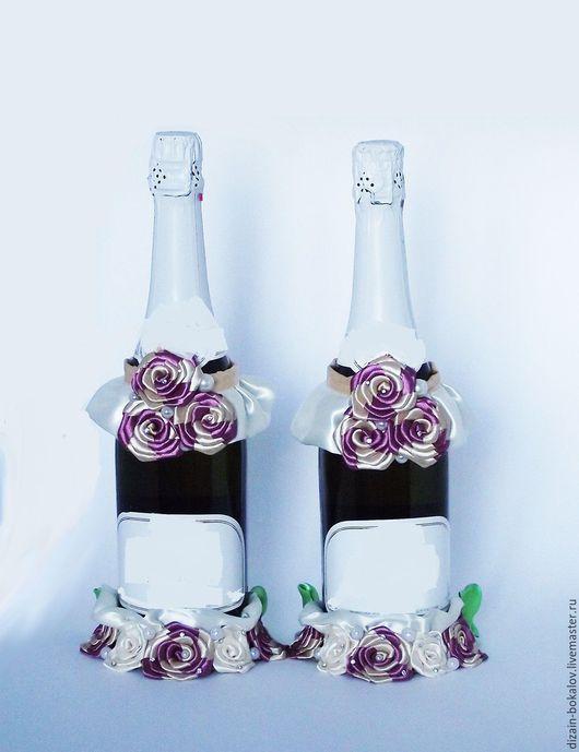 Свадебные аксессуары ручной работы. Ярмарка Мастеров - ручная работа. Купить Свадебное оформление бутылок. Handmade. Комбинированный, бордовый