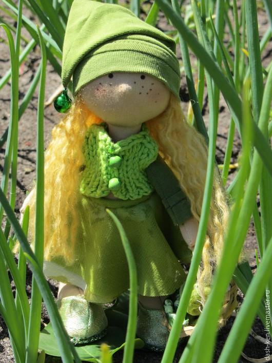 Коллекционные куклы ручной работы. Ярмарка Мастеров - ручная работа. Купить Васенька. Handmade. Зеленый, Снежка, хлопок американский
