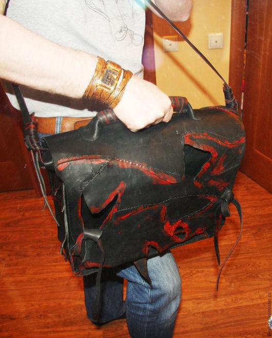 Мужские сумки ручной работы. Ярмарка Мастеров - ручная работа. Купить Портфель дикий черный брутальный. Handmade. Портфель