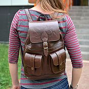 Сумки и аксессуары handmade. Livemaster - original item Backpack female leather brown Vanilla Mod. R12p-622. Handmade.