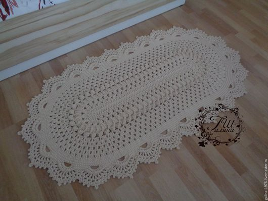 """Текстиль, ковры ручной работы. Ярмарка Мастеров - ручная работа. Купить Вязаный ковер """"Интрига"""". Handmade. Белый, крючком, объем"""